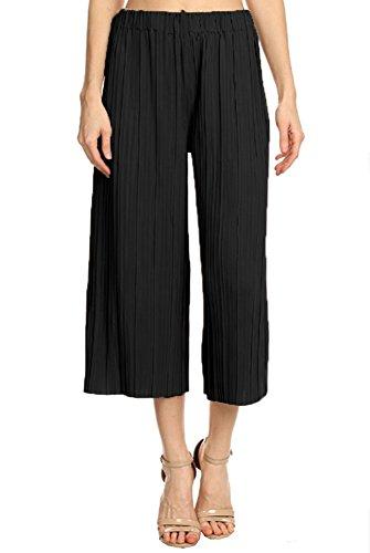 ANNA-KACI Damen Hohe Taille faltenreich breite Bein Plissee Culotte Gaucho faltenhose Palazzo Pants Hose