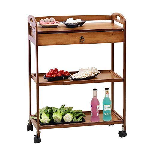 Cay2T Carrito de Cocina Madera con Ruedas,Carretilla con cajón y 2 estantes,Organizador Cocina bambú,Carrito baño Organizador de baño