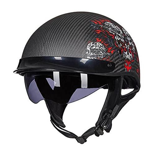 Casco retro de estilo alemán para motocicleta con cara abierta, material de fibra de carbono, medio casco de moto para hombres y mujeres, certificación ECE/DOT D, L