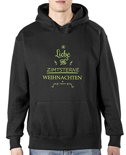 Comedy Shirts Sweat à capuche pour homme avec inscription « Liebe und Zimtstern » et manches longues - Noir - XL
