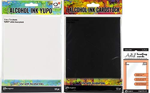 Tim Holtz Alcohol Ink Surfaces - Yupo White Heavystock, Black Matte Cardstock & ATC Gloss Paper