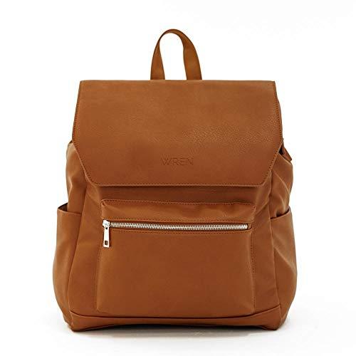 WREN BAG Diaper Bag Backpack - 15 Pockets - Wipeable Premium Vegan Leather w/Changing Mat and USB Charging Port - Cognac