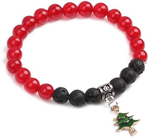 Plztou Pulsera de Piedra Mujer, 7 Chakra Polla de Piedra Natural Pulsera de ágata roja Elástico Lucky Yoga Brazalete Árbol de Navidad Joyería Colgante para Damas