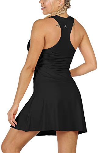 icyzone Women's 2 in 1 Tennis Dress, Golf Running Workout Racerback Tank Dresses with Pockets Shorts
