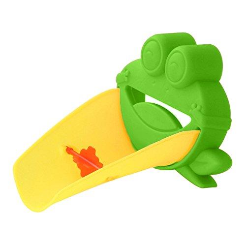 Demiawaking Süß Wasserhahn Verlängerung Extender für Kinder Baby Hände waschen Badezimmer-Cartoon Frosch Design (Grün) - 5