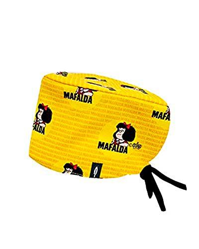Modelo: MAFALDA MOSTAZA - Estampado-Gorro de Quirófano ROBIN HAT- Pelo Largo - Ajustable- 100% -algodón (Autoclave)