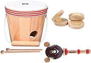 Music People Bucket Drum Set of 3 Music Instrument (Bucket Drum with Sticks, Rattle & Castanet Pair) Made in India Local Product Handmade