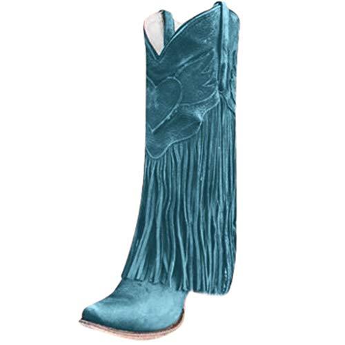 MINIKIMI enkellaarzen franjes dames halfhoge laarzen met blokhak Ankle Boots Vintage Spitse laarzen Zipper rubberlaarzen vrijetijdsschoenen voor herfst winter (38 EU, groen)