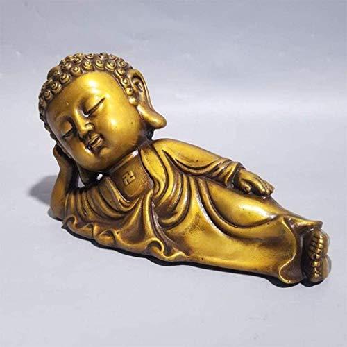 N&O Renovierung Haus Feng Shui Glück Zen Buddha Statue Reines Kupfer Handwerk Liegender Buddha Dekoration Für Ihr Wohnzimmer Büro Dekoration Messing
