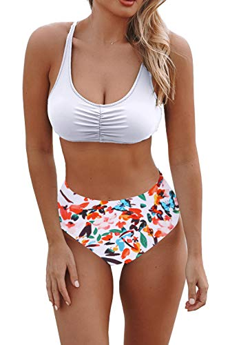Byoauo Ruched Bikini for Women Lace up Halter with Full Coverage Floral High Waist Bottom Two Piece Petite Swimsuits White Bikini Large