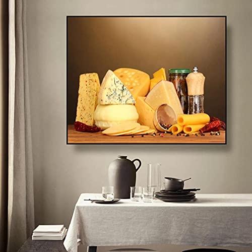 Dipinto Su Tela Cucina Formaggio Still Life Calligrafia Poster Stampe Per Sala Da Pranzo Immagini A...