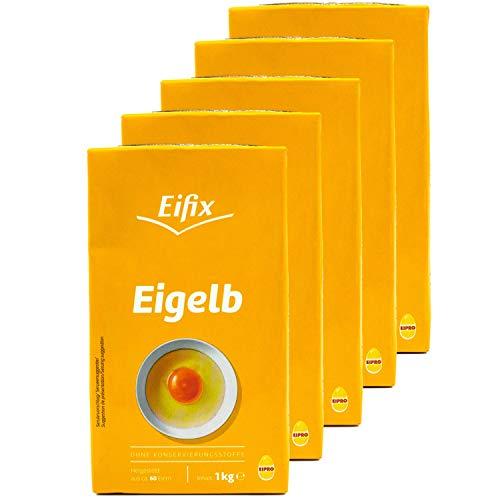 Eifix - 5er Pack Eigelb flüssig hergestellt aus ca. 60 Eiern 1 kg Packung - Eipro flüssiges Eigelb ohne Konservierungsstoffe (pasteurisiert)