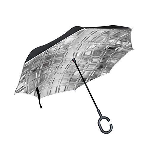 Paraguas invertido de Doble Capa, a Prueba de Viento, para Exteriores, para Lluvia, Sol, para automóvil, con asa en Forma de C, Textura de Azulejos de Vidrio Blanco y Negro sin Costuras