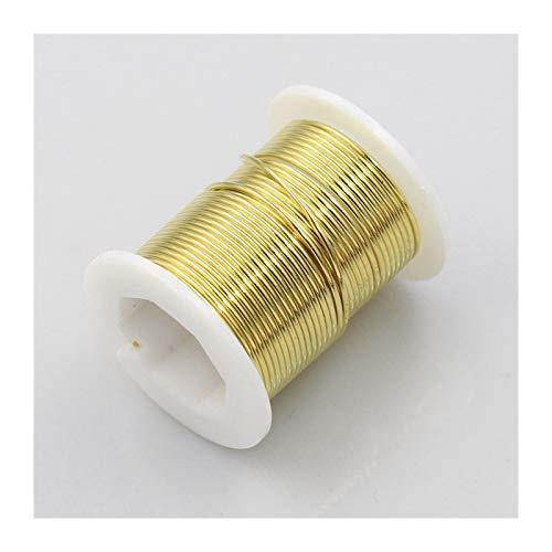 Joyería Wire 0,2/0,3/0,4/0,5/0,6/0,8/1,0 mm Diámetro del Alambre de Cobre for DIY Metal Crafts Accesorios Granos del Alambre Instrument Strings (Color : Oro, Talla : 0.6mm Diameter 12m)