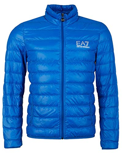 EA7 Emporio Armani Herren Lightweight Daunenjacke - Super leichte Jacke Übergangsjacke Steppjacke mit Daunenfüllung und Stehkragen, Farbe:Blau;Größe:L