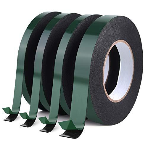 FEPITO Schaumstoffband Doppelseitiges Schwammband Wasserdichte Montage Klebebandrolle Automobil-Typenschilder Autoteile, schwarz (4, 12mm+25mm)