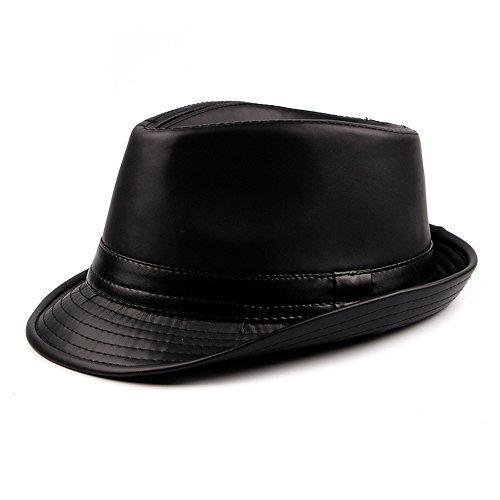 Pelle PU Cappello Fedora Uomo Ragazzi Inverno Berretto Trilby Homburg Gentiluomo, Nero