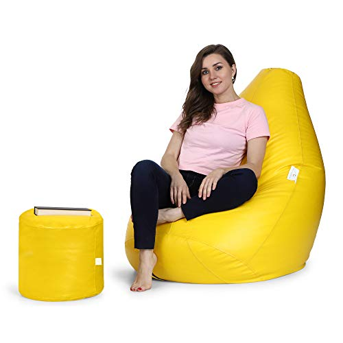 Urban Style Decore Bean Bag with Footstool with Beans Filled XXXL Colour RED