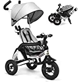 UBRAVOO Baby Trike , 6-in-1 Tricycle Kids Foldable Stroller, Learning Bike with Adjustable Canopy, Safety Harness, Folding Pedal, Storage Bag, Brake for 12 Months - 5 Years (Grey)