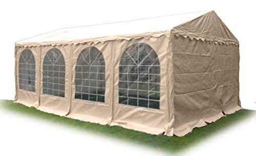 Ambisphere Partyzelt Classic Plus 5x12 m Hochwertiger Pavillon 550g/m² PVC Plane Gartenzelt/Festzelt/Bierzelt Wasserdicht, UV-Resistent & Feuerhemmend in Beige mit 5 Jahren Garantie