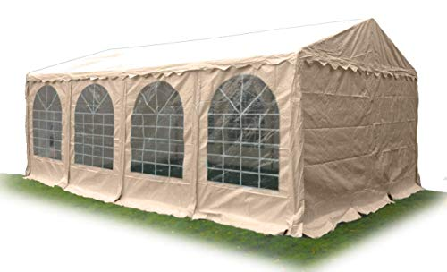 Ambisphere Waterproof Marquee Garden Tent Classic Plus 6x12m 550g/m² | PVC Party Tent | UV and Fire Resistant Gazebo in Beige with a 5 Year Warranty