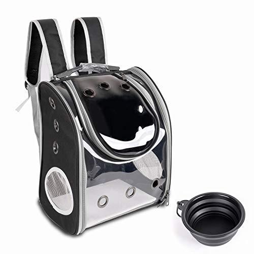 YINGJEE Haustier Rucksäcke mit Mesh für kleine Hunde Hunderucksack Katzenrucksack mit klappbarer Hundenapf zum Wandern, Radfahren & Outdoor Reisen im Freien (Schwarz)