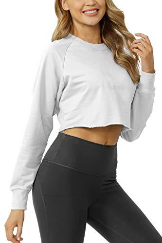 Sanutch Women's Crewneck Crop Sweatshirts Thumbhole Shirts Cute Off Croppped Long Sleeve Tops for Women White S Nebraska
