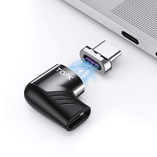 TOPK Adaptateur USB C Magnétique Type C Charge Rapide 100W QC 3.0 PD 2.0 Compatible avec MacBook Pro iPad ChromeBook Samsung Galaxy, Huawei et la Plupart des périphériques USB-C