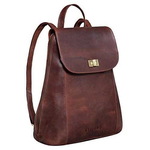 STILORD 'Victoria II' Lederrucksack Damen Vintage Rucksack für 13 Zoll MacBook DIN A4 Elegante Rucksackhandtasche für City Ausgehen Shopping Daypack, Farbe:Porto - Cognac