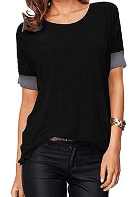 Sarin Mathews Women's Casual Round Neck Loose Fit Short Sleeve T-Shirt Blouse Tops Black L