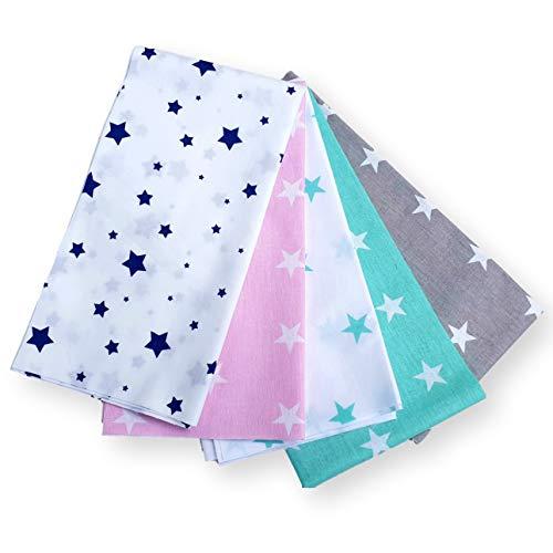 4L Textil Baumwollstoff 100{5fd7a24ea73c64514d3adc5c4cbcf91a70f76fd58a587eba88fcbb563778ef60} 5 Stück 50x50cm Stoffpakete Patchwork Baumwolle Stoffe zum nähen für Kinder Nähstoffe Kinderstoff Tuch DIY Handgefertigte Mehrfarbig (01)