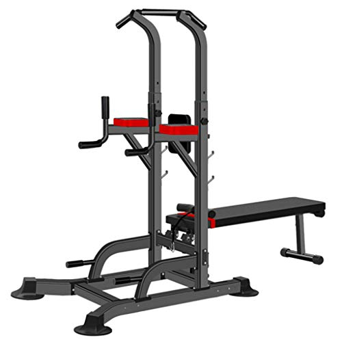KINGC Adjustable Power Tower Dip Station Pull Up Bar Strength Training with Dumbbell Bench for Home Gym Exercise 330 Lbs Load Black