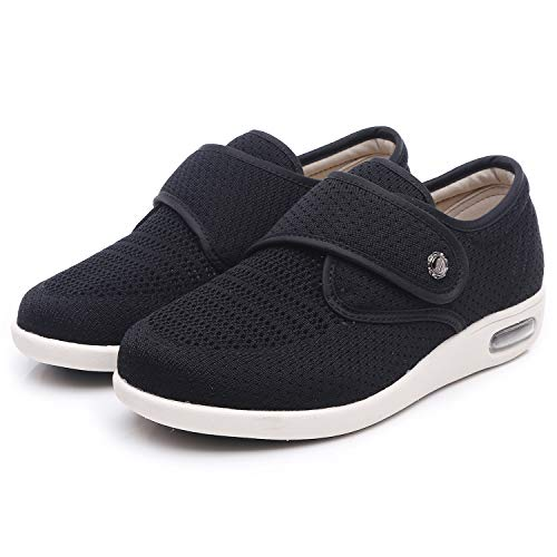 W&Le-Slippers Womens Wide Width Walking Shoes, Lightweight Air Cushion Sneakers Easy On and Off for Elderly(9.5, Mesh Black)