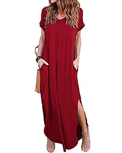ZANZEA Damen Kleider Lange Sommerkleid Kurzarm Cocktail Elegant Ballkleid Mit Ärmel Wein Rot M