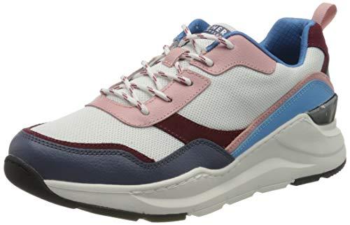 Skechers Rovina, Zapatillas Mujer, Azul (Blue & Pink Leather/White Mesh Trim Wbl), 37 EU