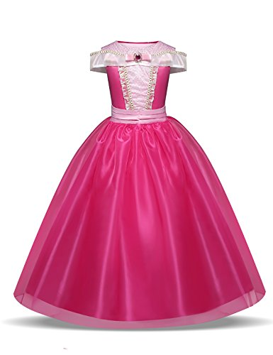 Disfraz de princesa Aurora para niñas de 3 a 10 años, color rosa fuerte Rosa hot pink 9-10 Years, Height 140 cm