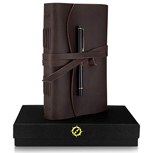 Leather Journal Lined Paper A5 Leather Bound Journal Gift Set Large 8.75 x 6-inch Vintage Writing Notebook for Men & Women Unique Travel Diary Luxury Writers Pen