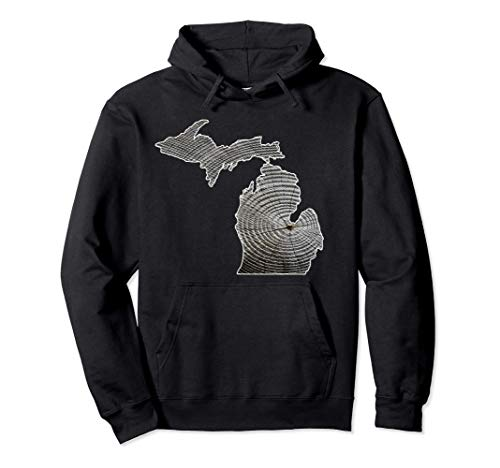 Michigan Home, Mich Tree Forest, Michigan Vintage Map Pullover Hoodie