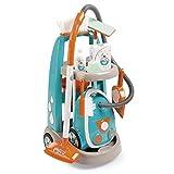 Smoby-Carrito de limpieza con aspirador y accesorios 330309, color azul y naranja , color/modelo surtido