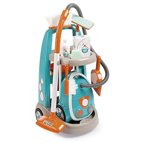 Smoby 330309 Reinigingstrolley met stofzuiger, turquoise