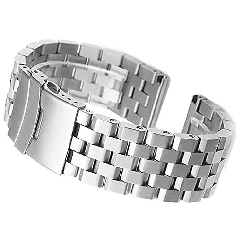 ZXF Correa Reloj, Conexión de Tornillo Correa de Acero Inoxidable Correa 18/20 / 22/26 / 26mm Pulsera de reemplazo de Metal para Hombres y Mujeres Negro/Plata Pulsera