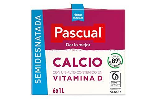 Leche Pascual - Calcio Leche Semidesnatada, Calcio natural, pack de 6 unidades - 6l