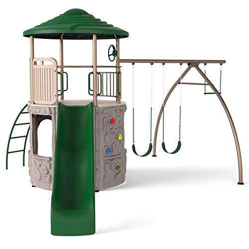 Lifetime 90440 Adventure Tower Swing Set, Green