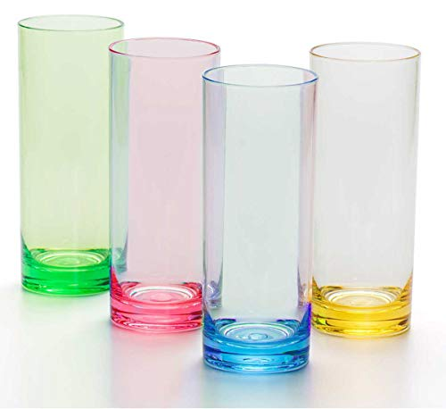 12 oz Highball Drinking Glasses Plastic Tumblers Tall Kids Water Cups Acrylic Adults Glassware Colored Picnic Drinkware for Juice Cocktail Beer Wine Whiskey and Beverage BPA Free Set of 4