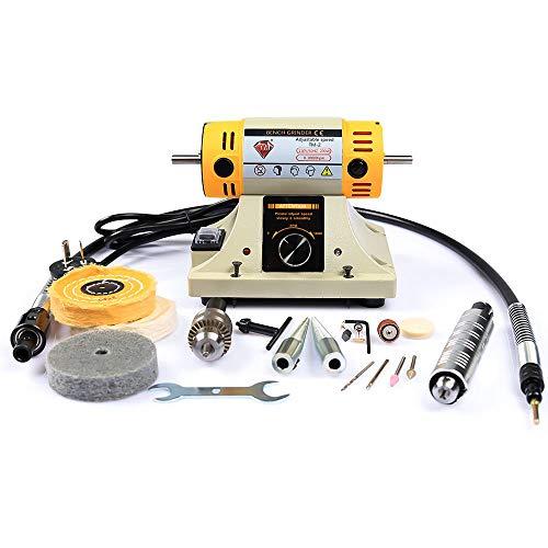 LIBAOTML Adjustable Speed Polishing Machine, Multi-Function Bench Lathe Polisher, Bench Grinder, Polishing Machine Used For Jewelry Making, Woodcrafting, Dental, Manual DIY.
