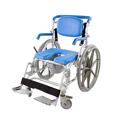 Bariatric Shower/Commode/Transport Chair, Heavy Duty 600lb Capacity, Padded, Retractable Arm and Foot Rests. Self-Propel Wheels. MaxiBathe Professional Shower Chair