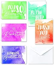 Paper Frenzy Watercolor Appreciation Thank You Note Cards & White Envelopes - 25 pack
