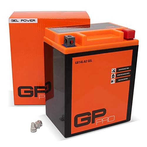 GP-PRO GB14L-A2 12V 14Ah GEL-Batterie (Kompatibel mit YB14L-A2 / 51411) (Wartungsfrei & Versiegelt) Akkumulator Motorrad Motorradbatterie