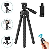 Phone Tripod Flexible Upgraded, 11' Portable Cell Phone Camera Tripod Stand Holder with Wireless Remote Shutter and Universal Phone Mount, Compatible with iPhone, Android Phones, Sports Camera GoPro