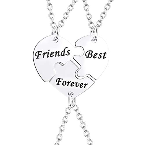 FJ 3 BFF Best Friend Necklace Stainless Steel Puzzle Friendship Necklace for 3